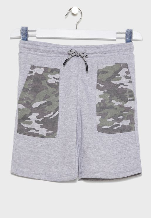 Kids Camo Pocket Shorts