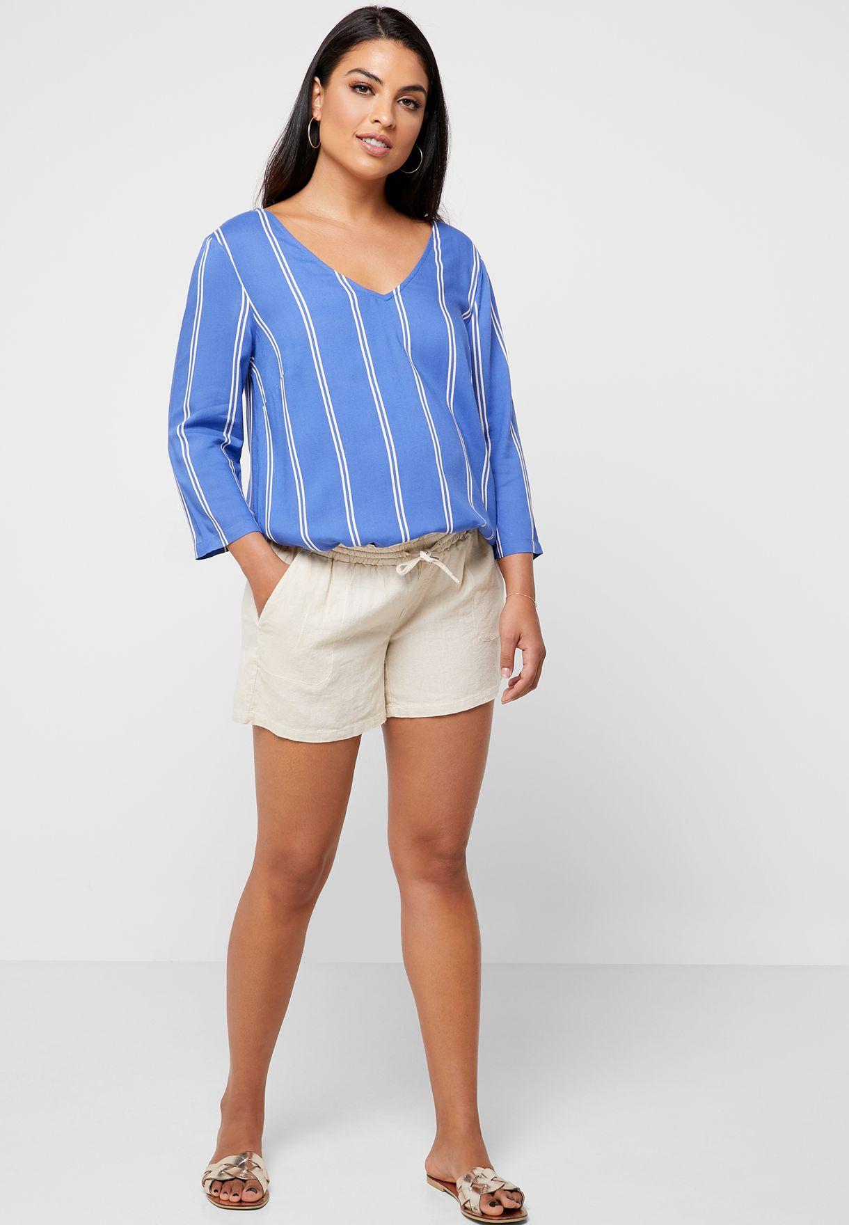 Over Bump Linen Shorts