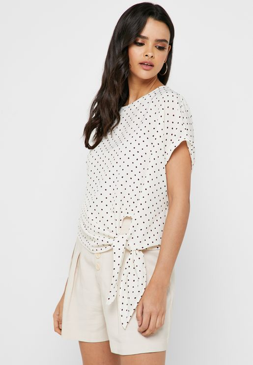 881e53f3307 Dot Print Front Tie Top