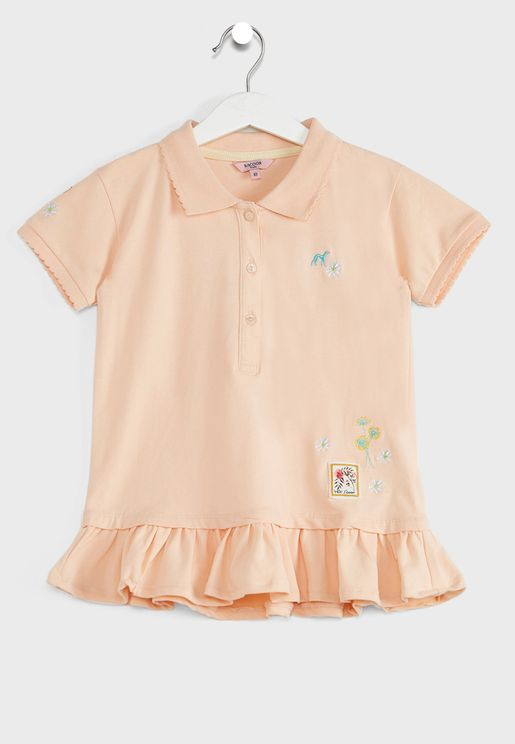 Kids Embroidered Flower Polo