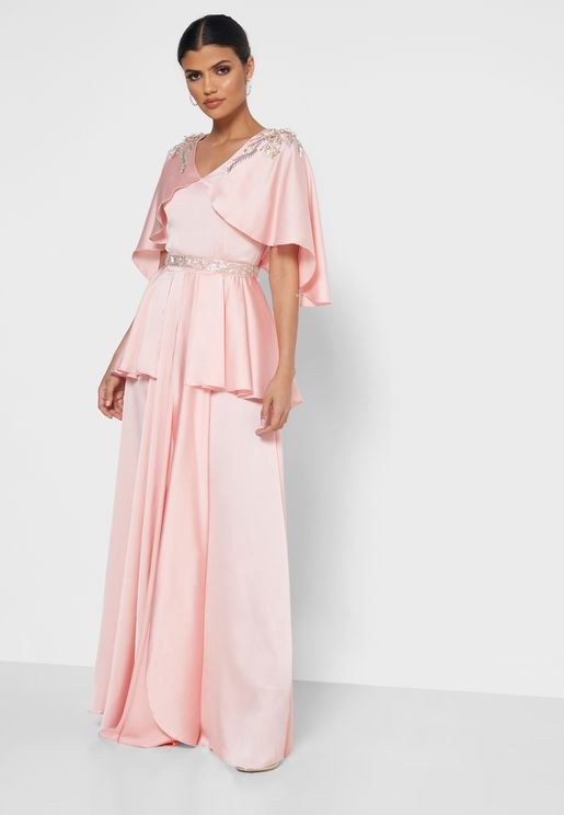 Pleated Wide Sleeve Dress