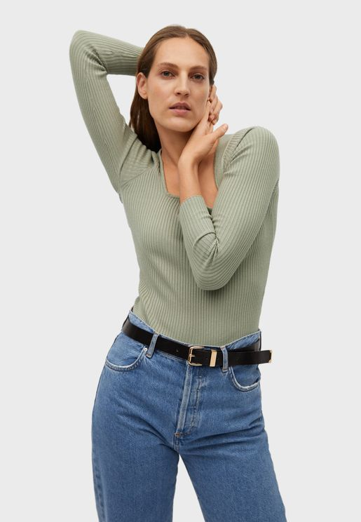 Square Neck Ribbed Sweater