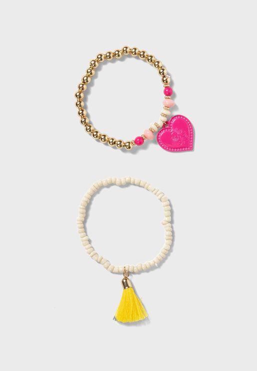 Kids 2 Pack Beaded Bracelet