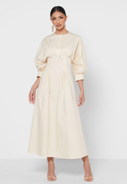 Pleat Detailed Dress