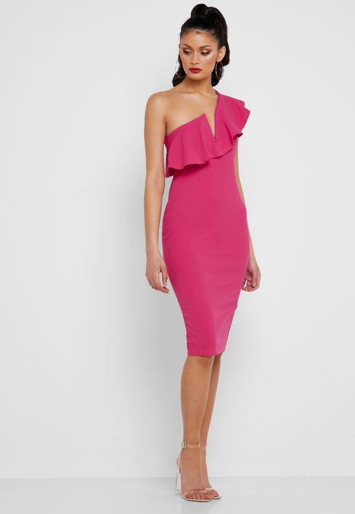 One Shoulder Frill Detail Dress