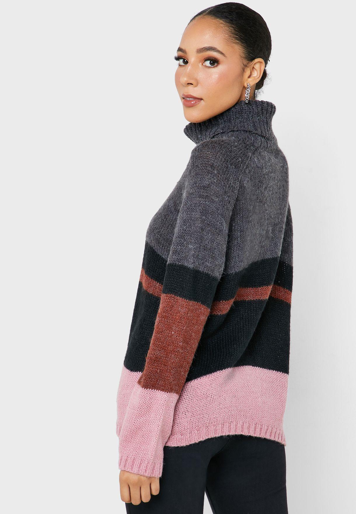 Roll Neck Multicolor Sweater