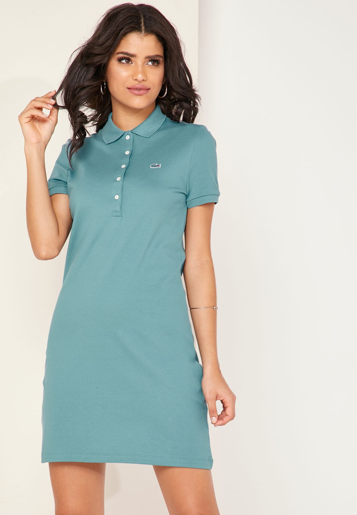4476b20d5fa Shop Lacoste green Logo Polo T-Shirt Dress EF8470 for Women in UAE ...