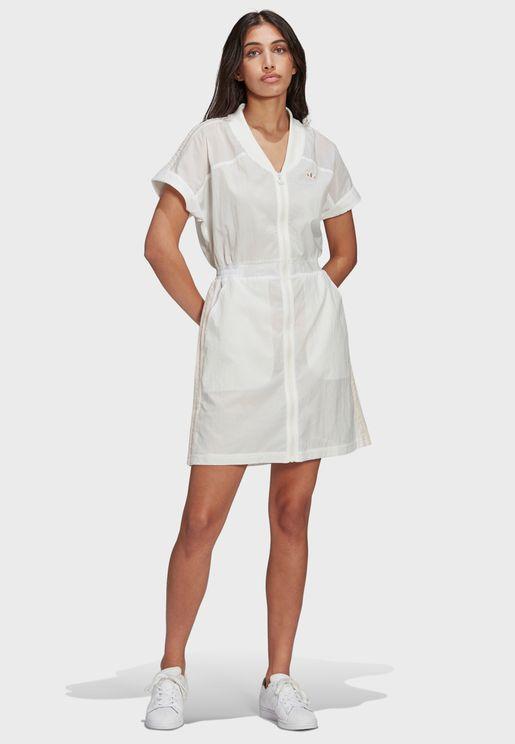 فستان مزين بخطوط الماركة