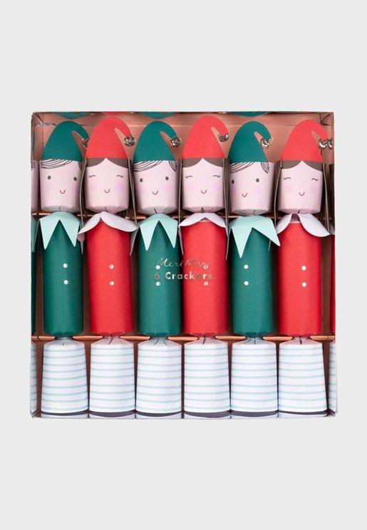 Set of 6 Festive Elf Medium Crackers