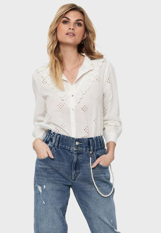 Front Ruffle & Laser Cut Detail Shirt