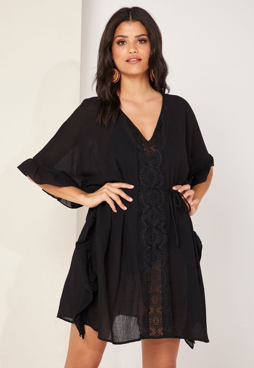 Lace Trim Beach Kaftan