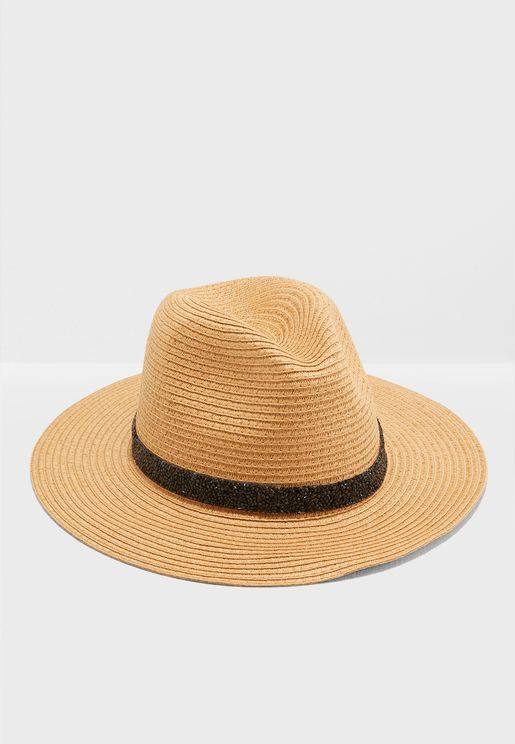 Fedora Straw Hat With Band Detail