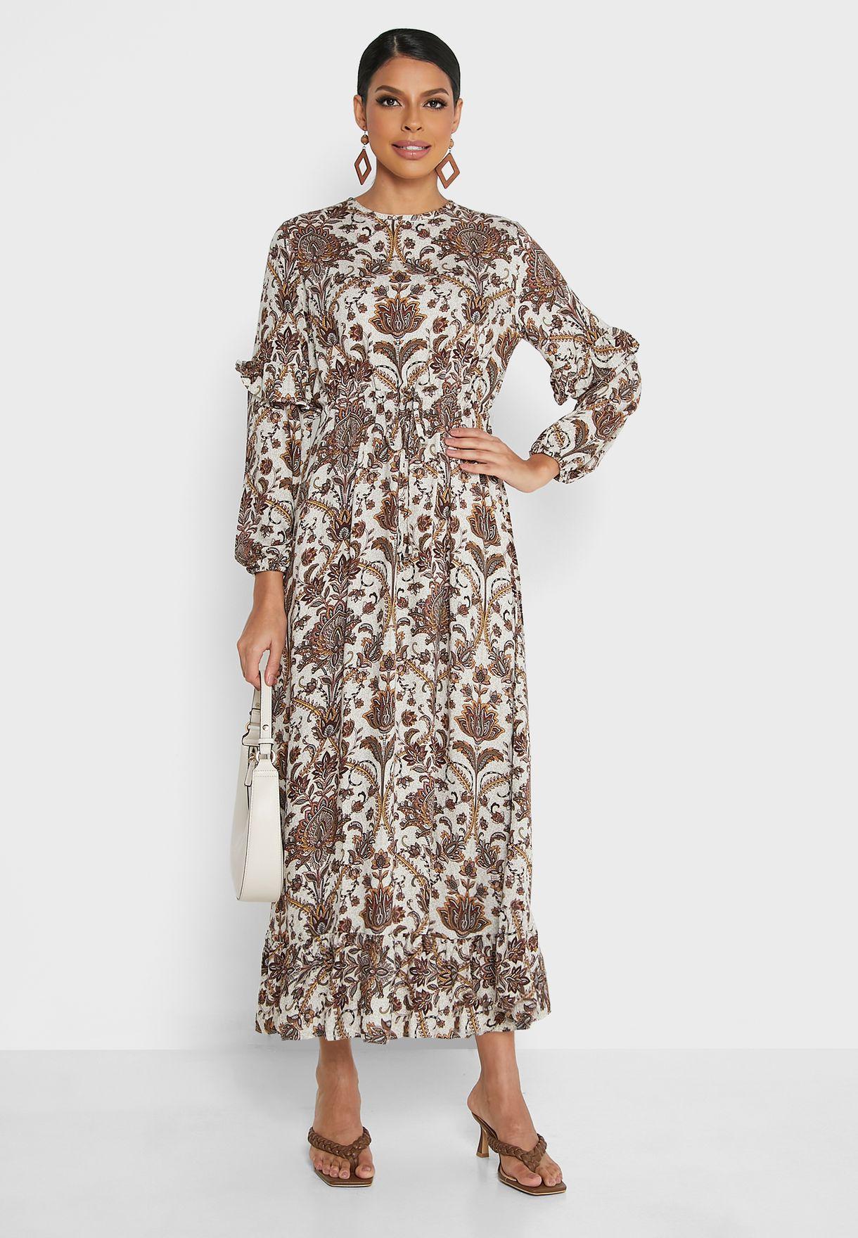 Crew Neck Floral Print Dress