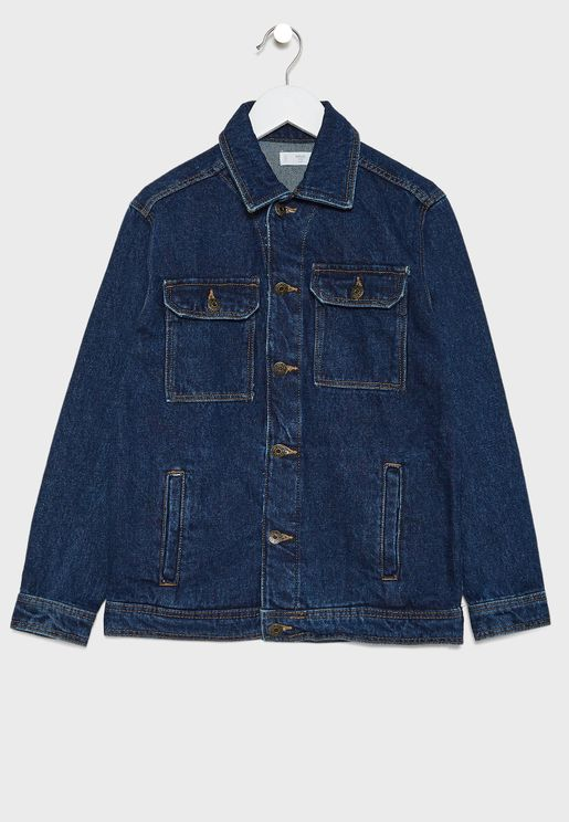 Kids Dark Wash Denim Jacket