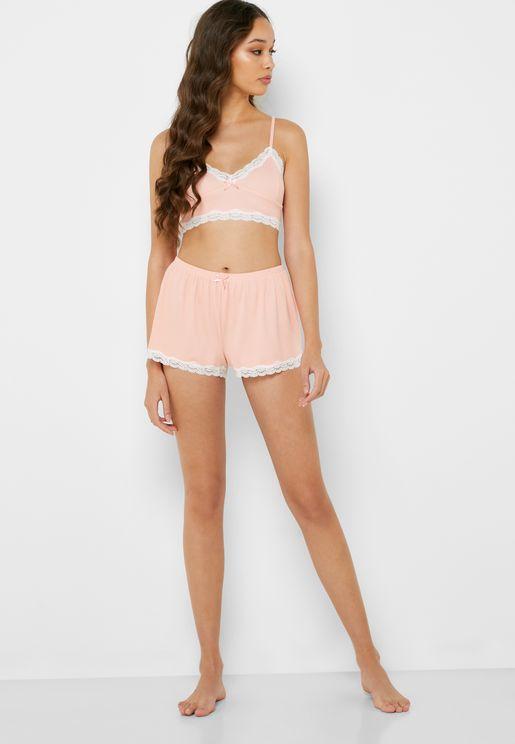 Lace Trim Cami Strap Top & Shorts Set