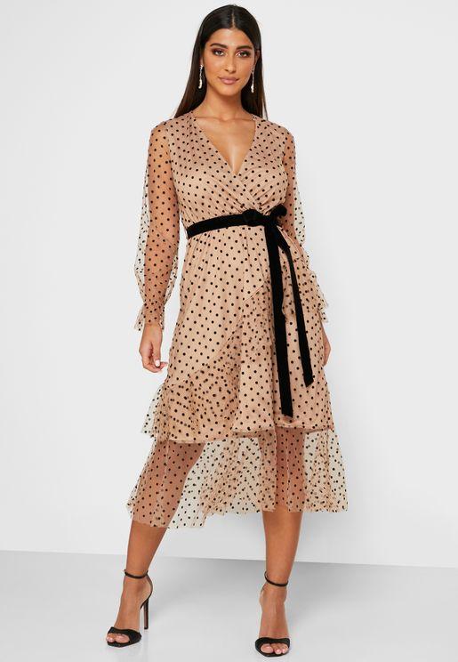 Flute Sleeve Peplum Dress