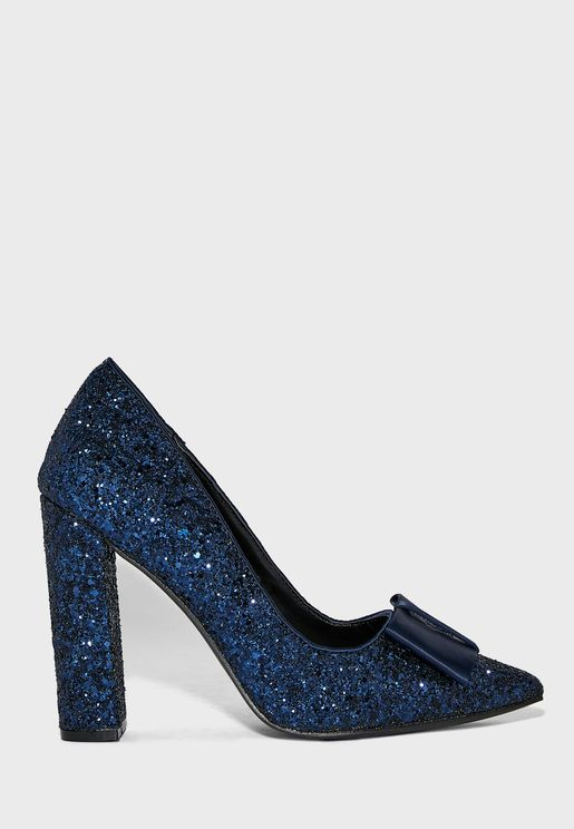 Pointed Glitter Block Heel Pump With Bow