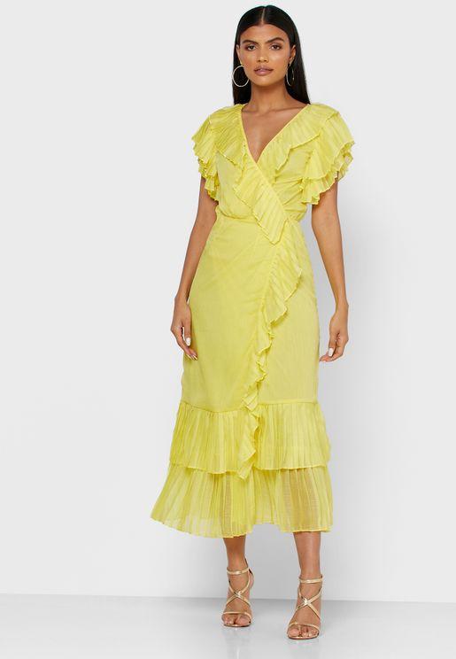 فستان بنمط لف مزين بكشكش