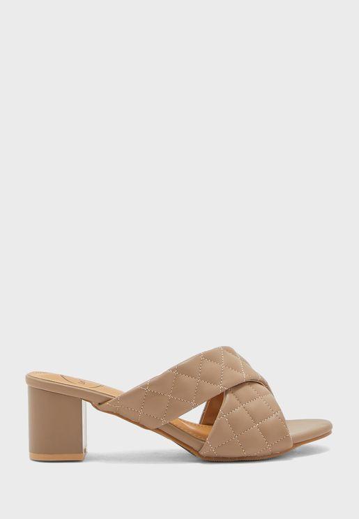 Cross Strap Loe Heel Sandal