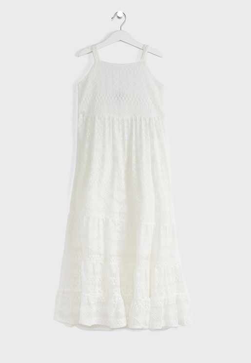Teen Paige Embroidered Mesh Maxi Dress