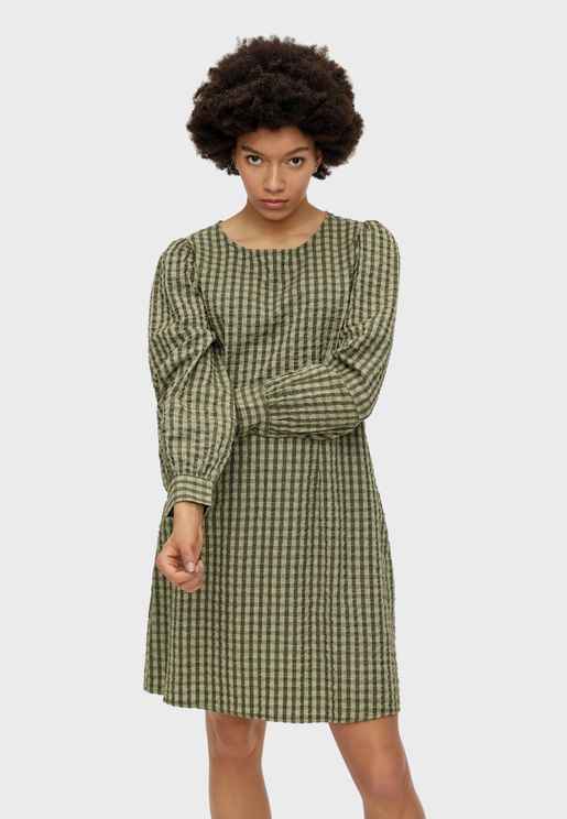 Puff Sleeve Checked Dress