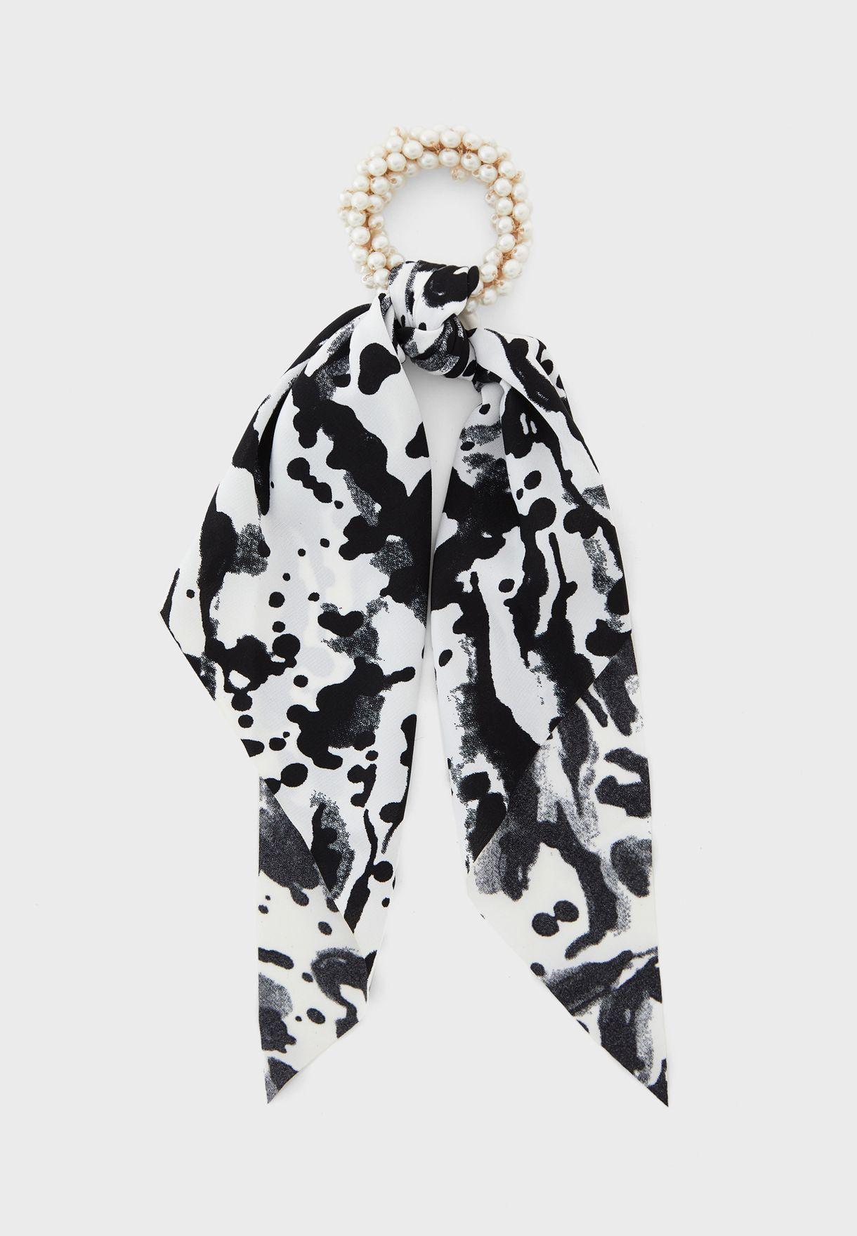 Printed Scrunchie With Pearl Elastic