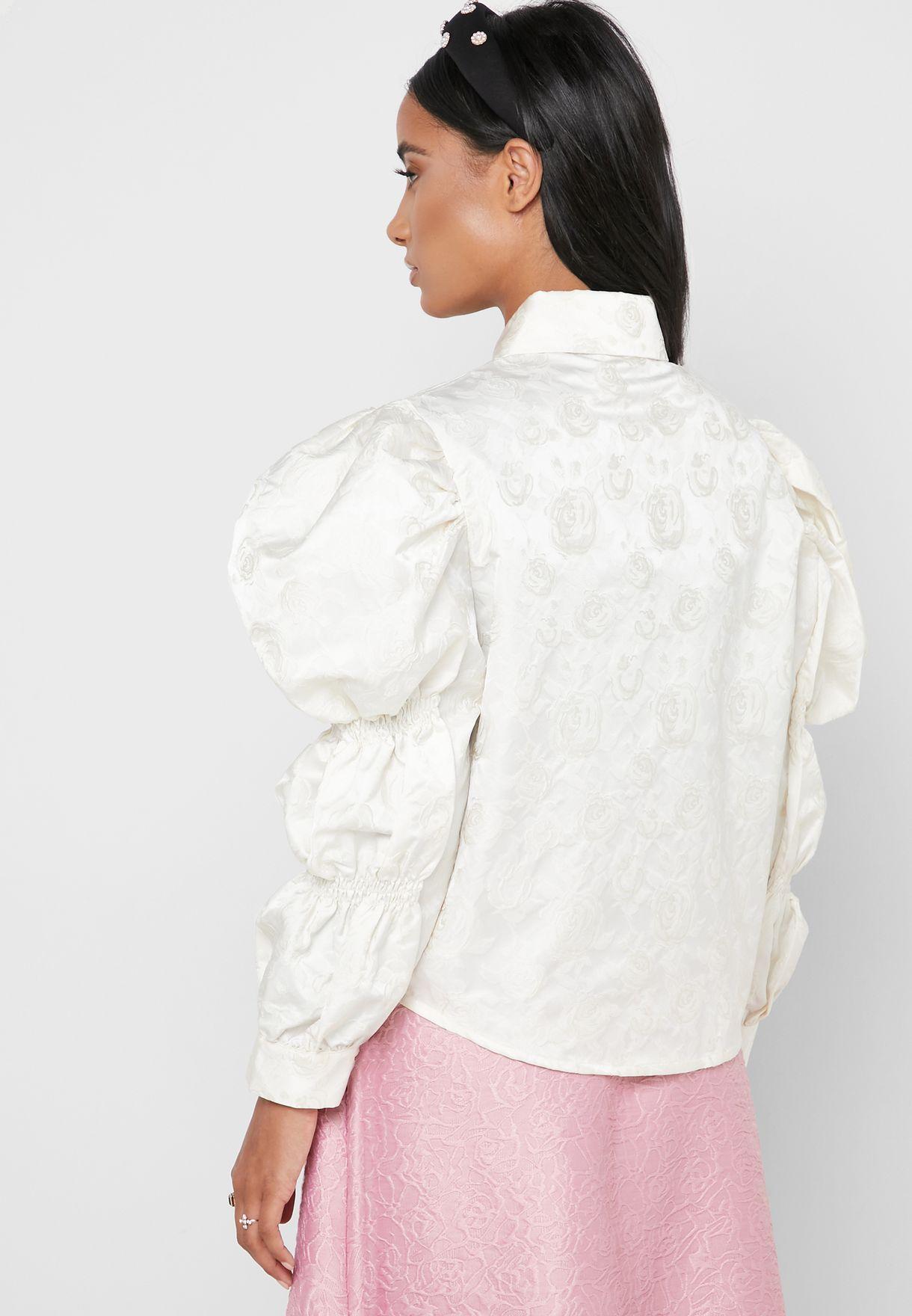 Buy Sister Jane White Jacquard Puff Sleeve Shirt For Women, Uae 19960at26jip