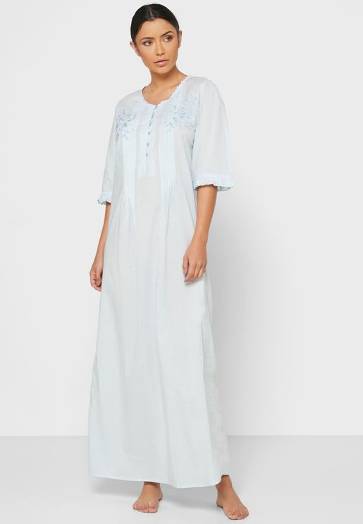 Solid Cotton Nightwear with Buttons