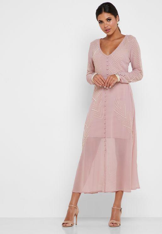 Embellished Button Detail Midi Dress