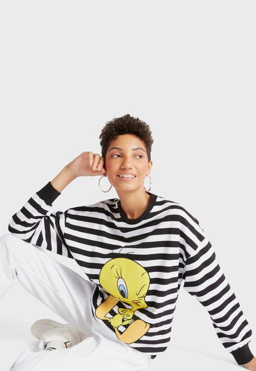 Crew Neck Striped Sweatshirt