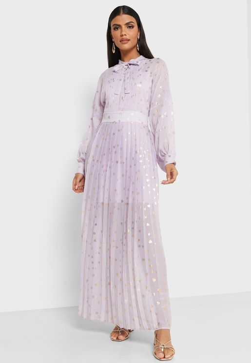 Printed Tie Neck Pleated Skirt Maxi Dress
