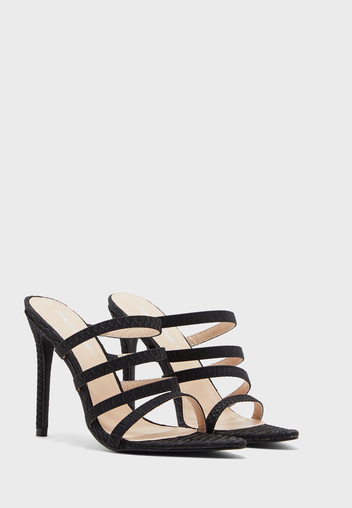 Confess Multi Strap Sandal - Black