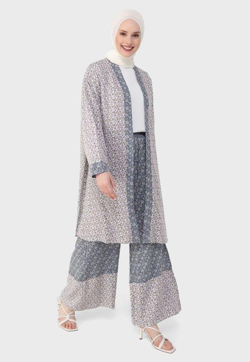 V-Neck Printed Coat