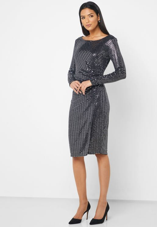 Ruched Side Sequin Dress