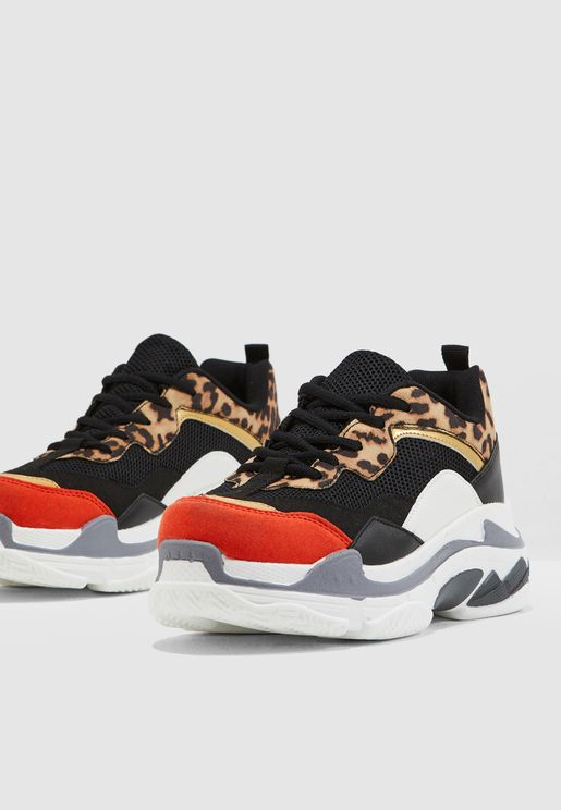 015841901 Animal Print Chunky Sneakers
