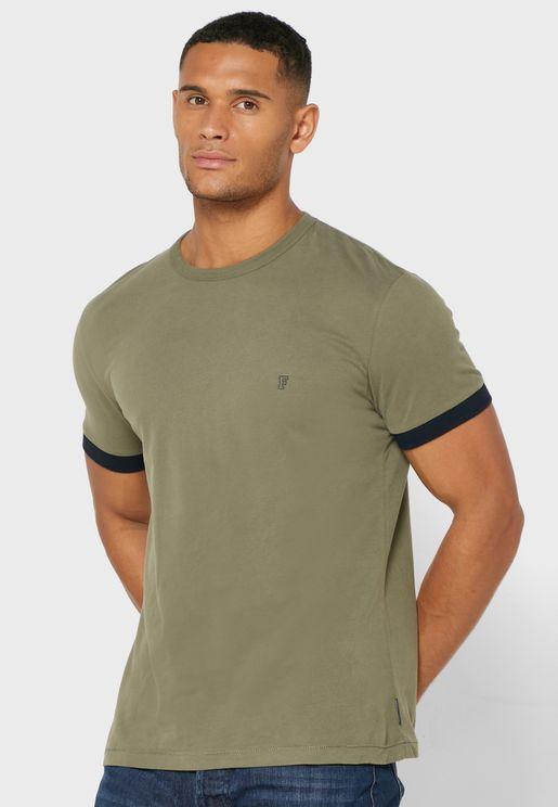 Contrast Cuff Crew Neck T-Shirt