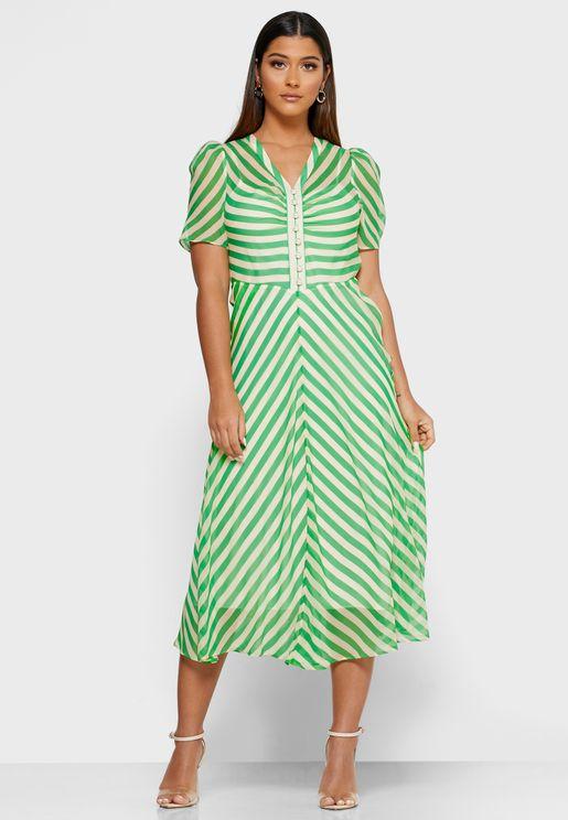 Dr Holzer V-Neck Striped Dress