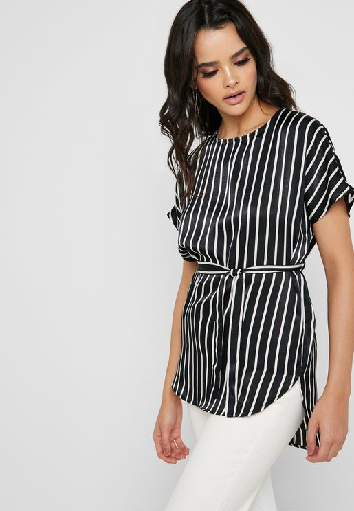 Stripped Tie Wrap Top