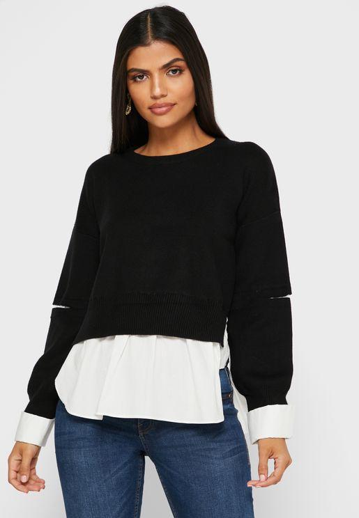 Combo Slash Arm Sweater