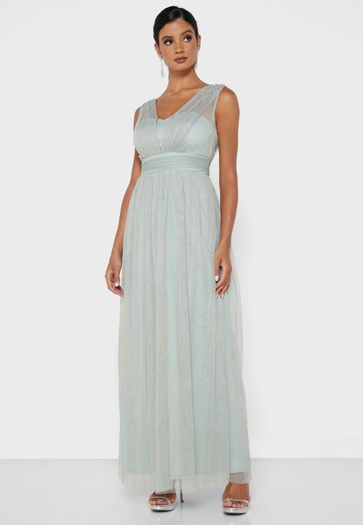 Mesh Yoke Dress