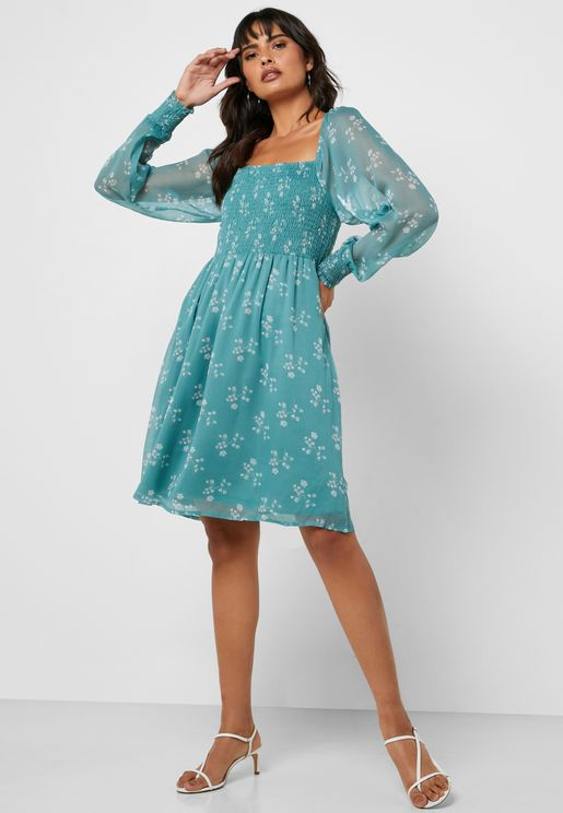 Sheer Sleeve Printed Dress