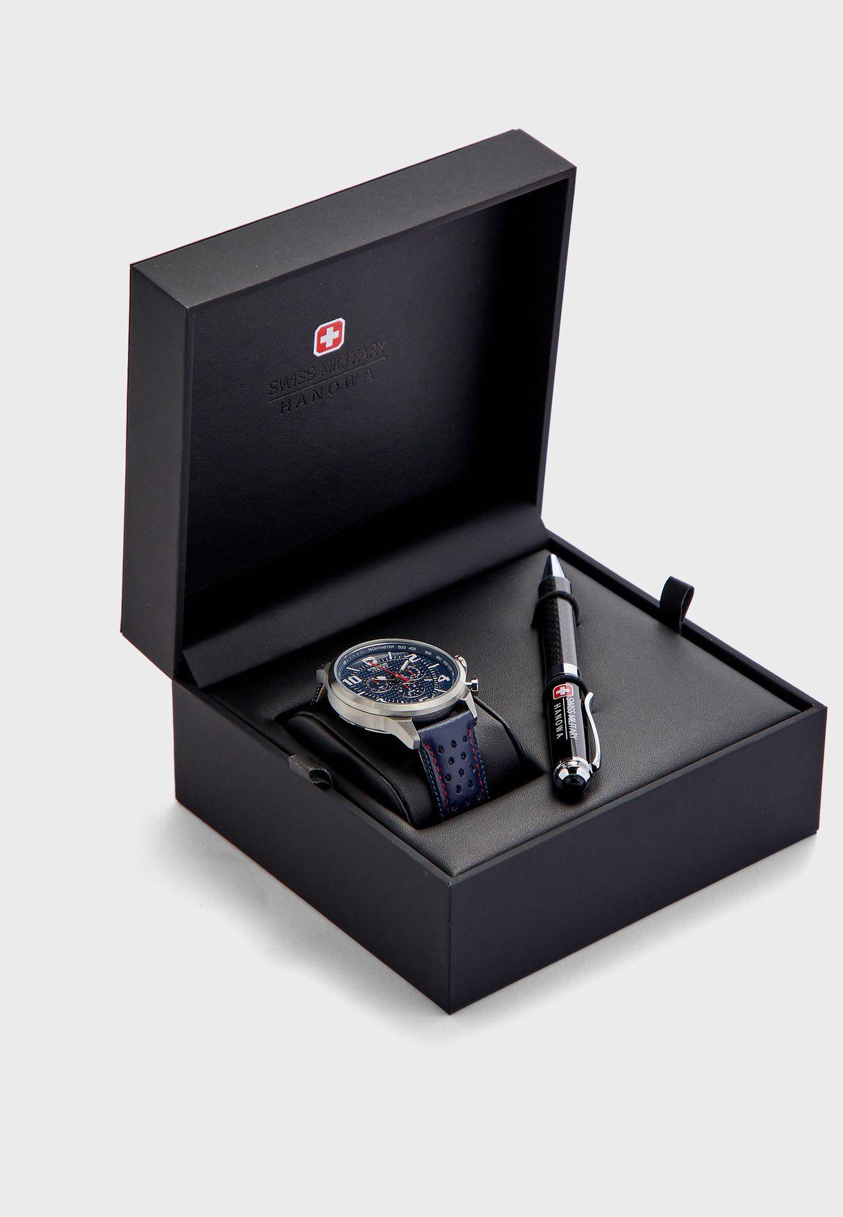 طقم ساعة كرونوغراف + قلم