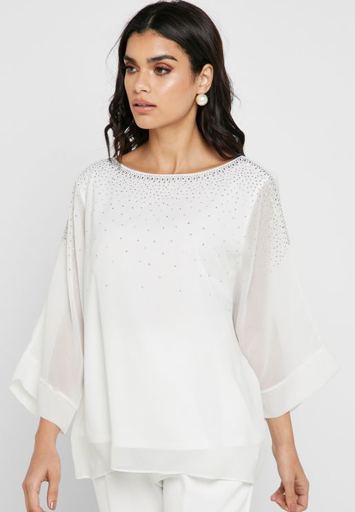 Embellished Detail Overlay Top