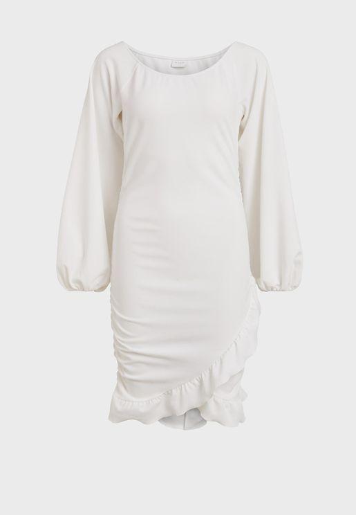 Asymetrical Ruffle Hem Mini Dress