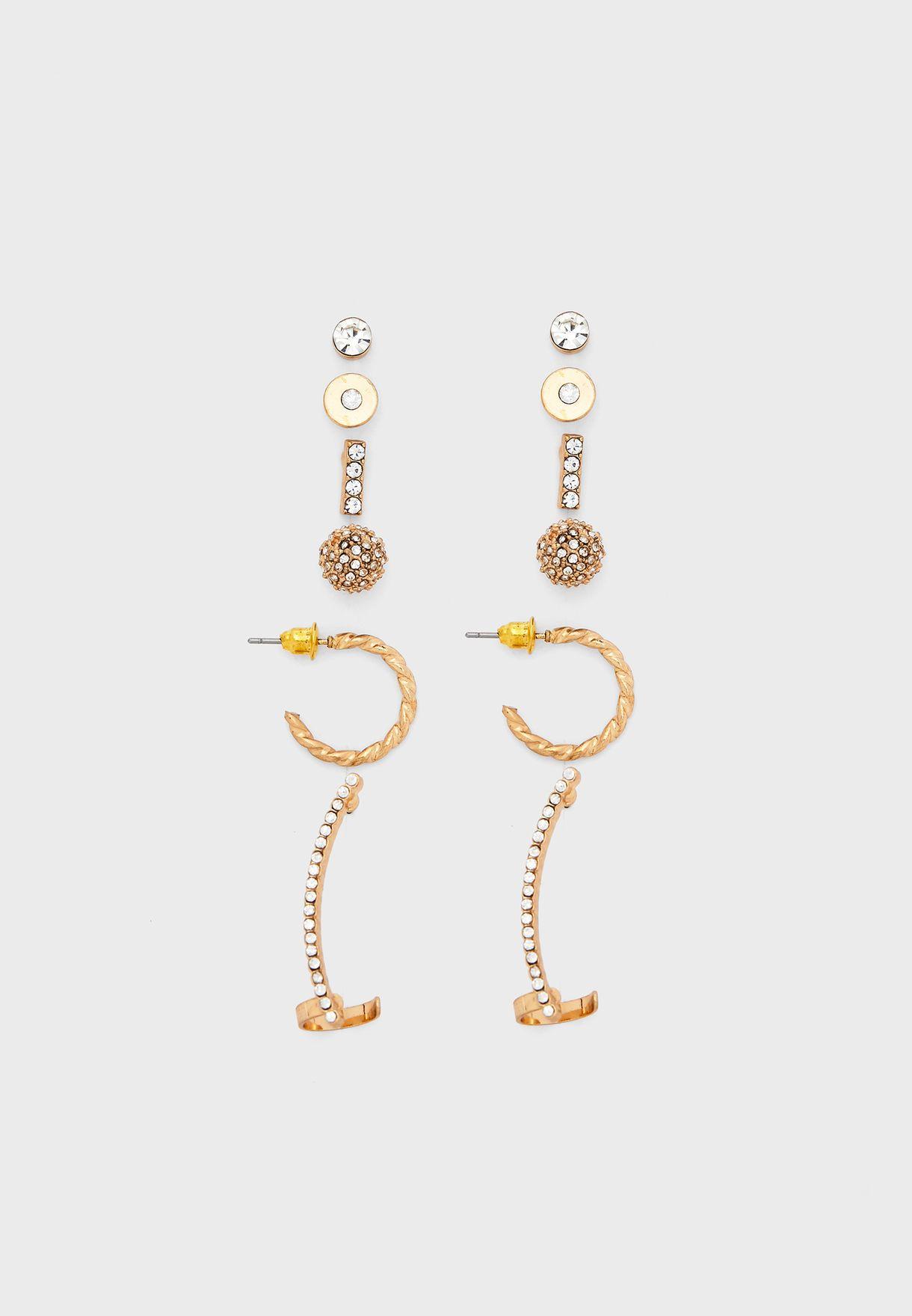 Multipack Rhinestone Stud Earrings