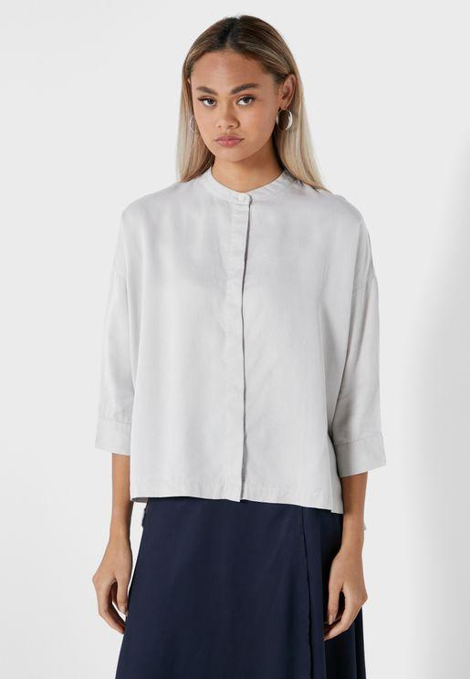 قميص فضفاض بياقة صينية