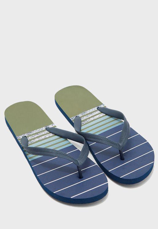 Stripe Print Flip Flops