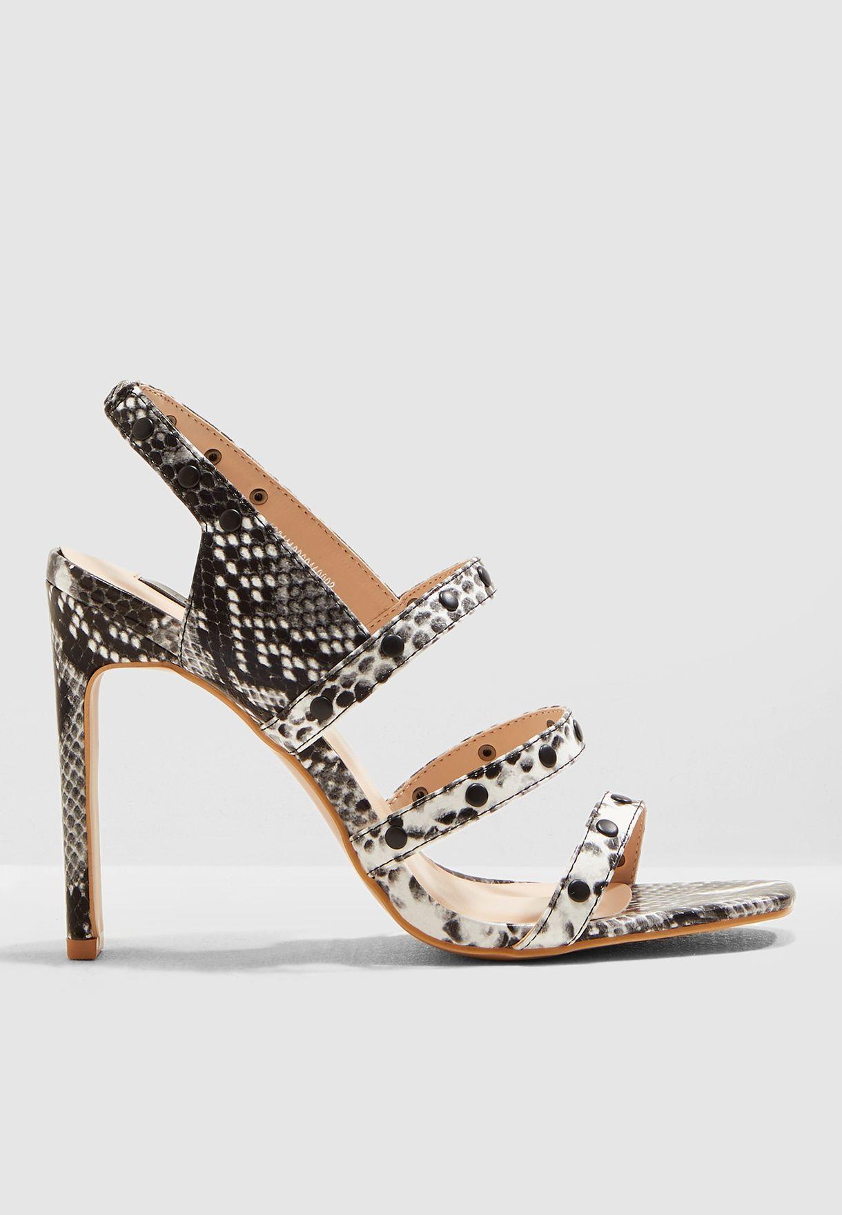 Robin Stud Square Toe Heel Sandal