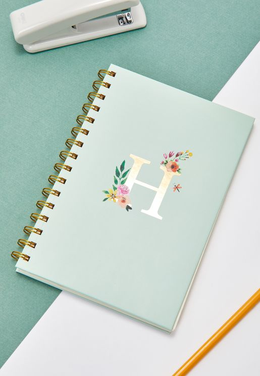 Initial H Floral Notebook
