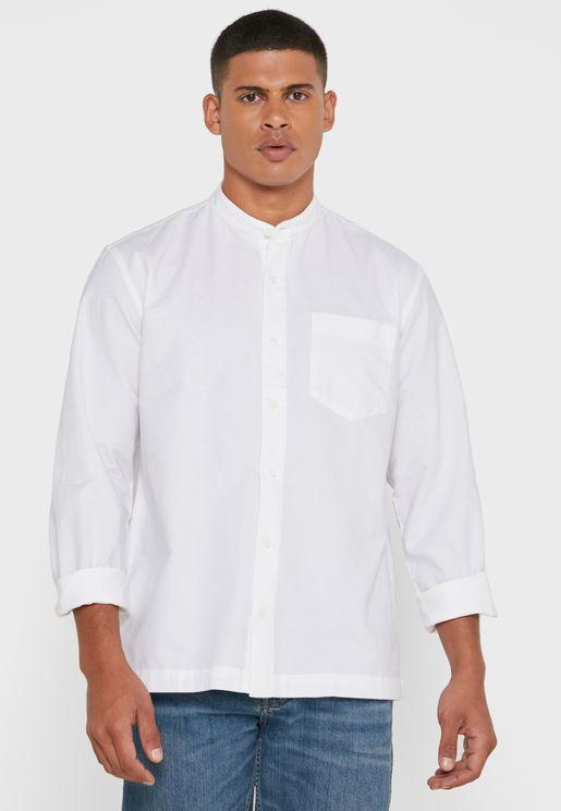 قميص فضفاض مع ياقة دون طيات